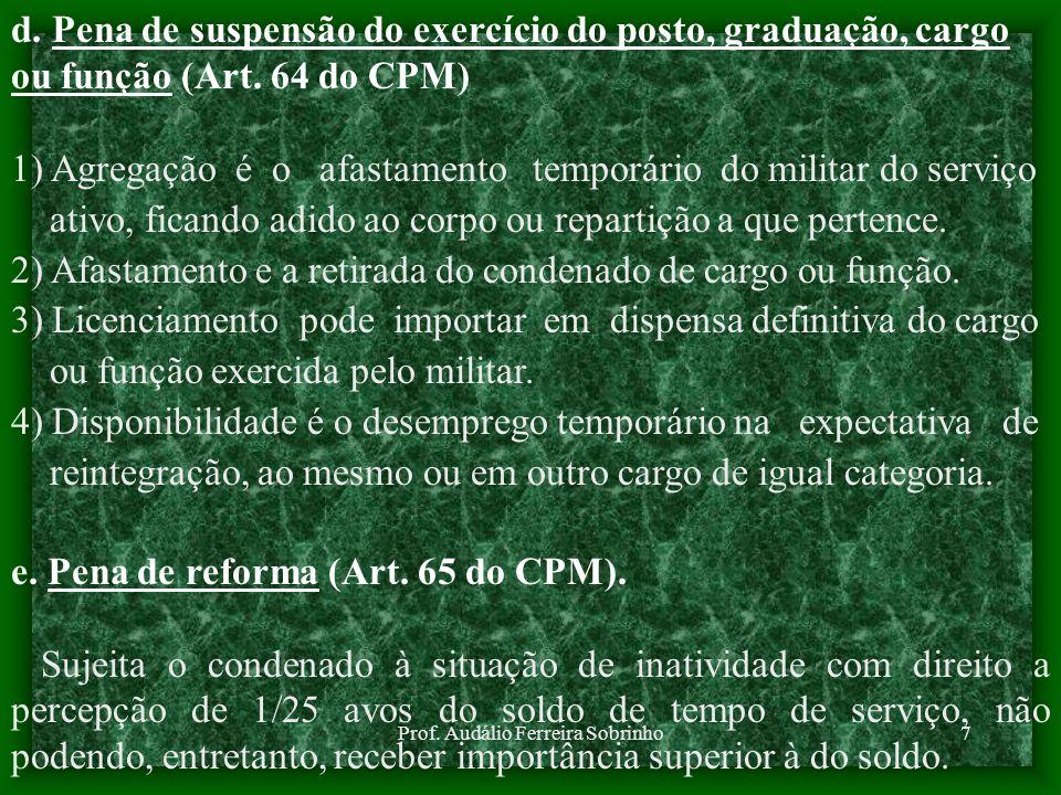 Prof. Audálio Ferreira Sobrinho7 d. Pena de suspensão do exercício do posto, graduação, cargo ou função (Art. 64 do CPM) 1) Agregação é o afastamento