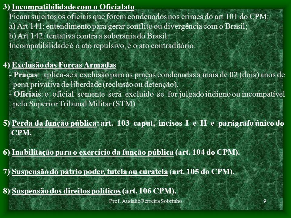 Prof. Audálio Ferreira Sobrinho9 3) Incompatibilidade com o Oficialato Ficam sujeitos os oficiais que forem condenados nos crimes do art 101 do CPM: a
