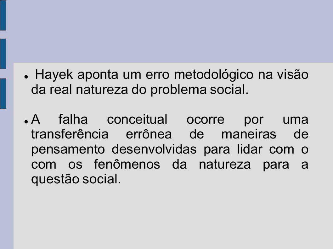 Hayek aponta um erro metodológico na visão da real natureza do problema social. A falha conceitual ocorre por uma transferência errônea de maneiras de