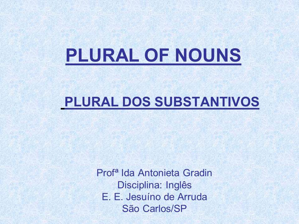 Profª Ida Antonieta Gradin Disciplina: Inglês E. E. Jesuíno de Arruda São Carlos/SP PLURAL OF NOUNS PLURAL DOS SUBSTANTIVOS