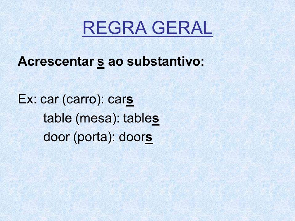 REGRA GERAL Acrescentar s ao substantivo: Ex: car (carro): cars table (mesa): tables door (porta): doors