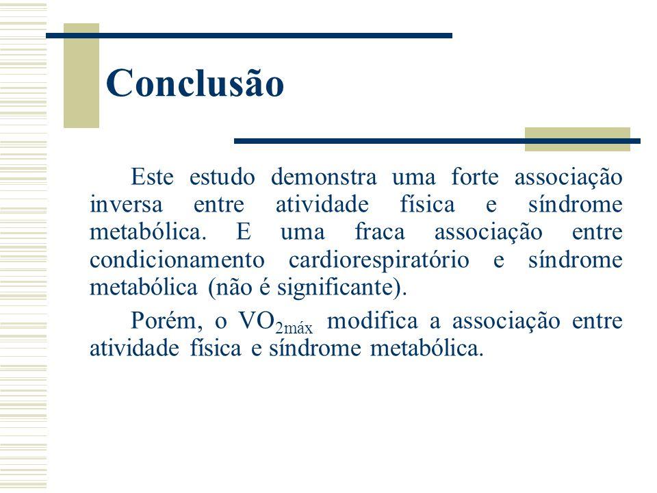 Conclusão Este estudo demonstra uma forte associação inversa entre atividade física e síndrome metabólica. E uma fraca associação entre condicionament