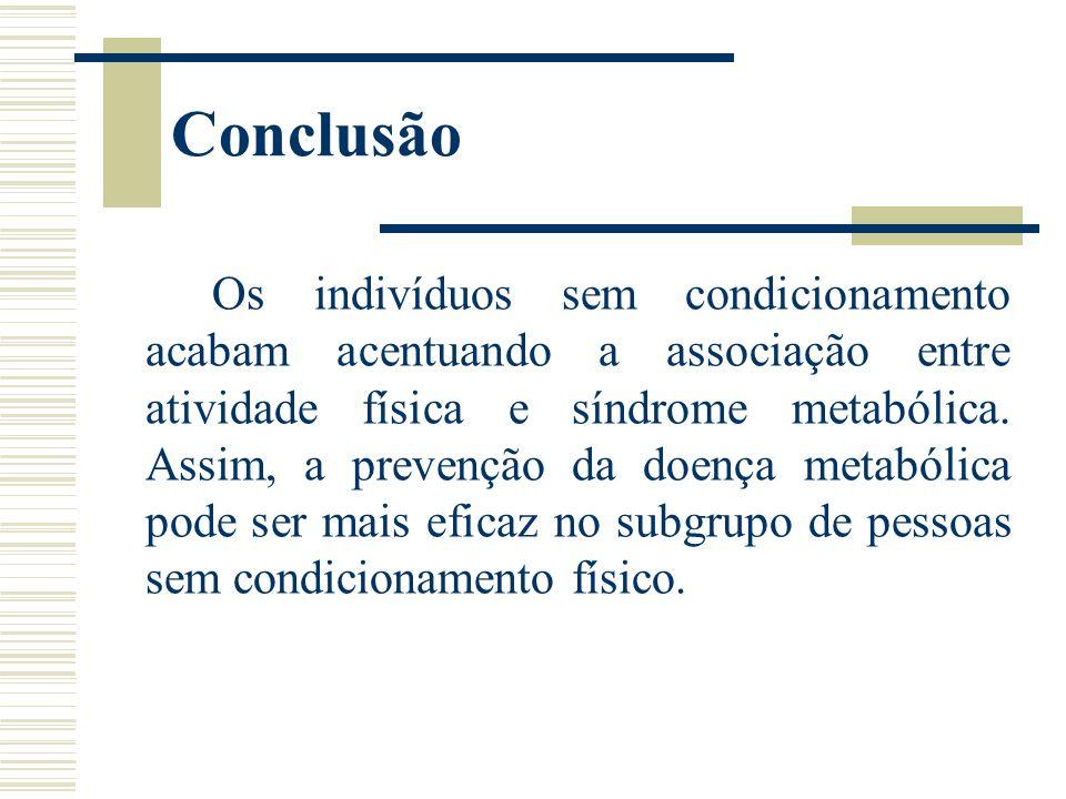 Conclusão Os indivíduos sem condicionamento acabam acentuando a associação entre atividade física e síndrome metabólica. Assim, a prevenção da doença