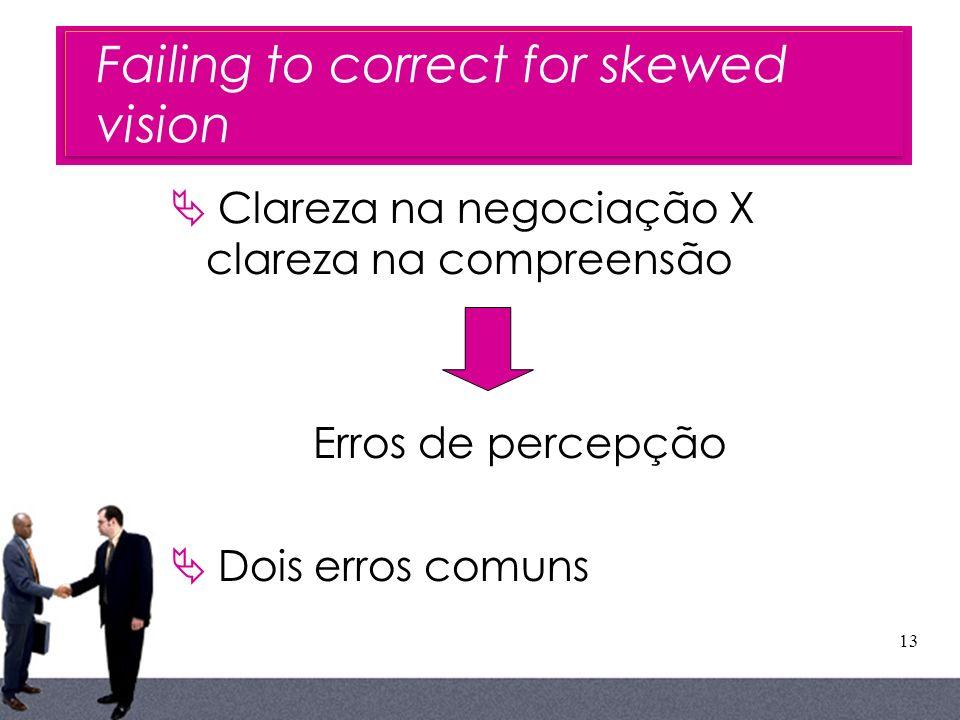 13 Failing to correct for skewed vision Clareza na negociação X clareza na compreensão Erros de percepção Dois erros comuns