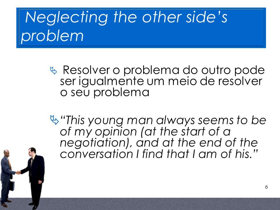 6 Neglecting the other sides problem Resolver o problema do outro pode ser igualmente um meio de resolver o seu problema This young man always seems t