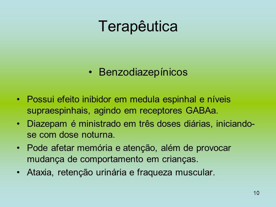 10 Terapêutica Benzodiazepínicos Possui efeito inibidor em medula espinhal e níveis supraespinhais, agindo em receptores GABAa. Diazepam é ministrado