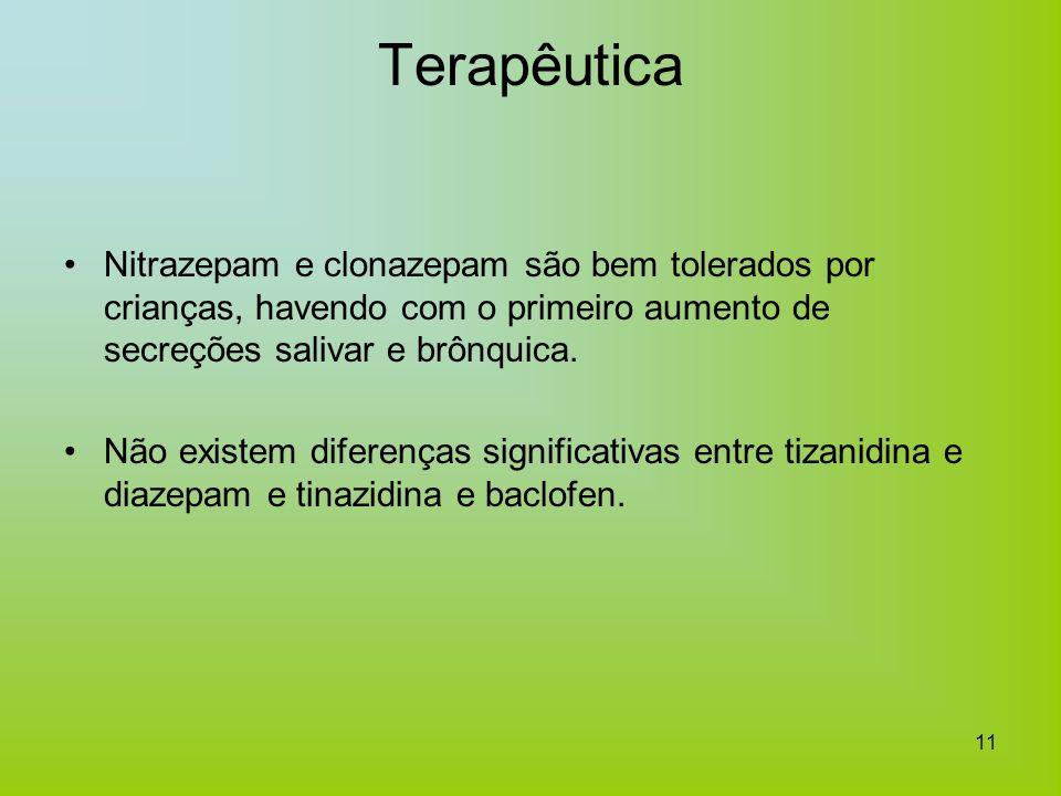 11 Terapêutica Nitrazepam e clonazepam são bem tolerados por crianças, havendo com o primeiro aumento de secreções salivar e brônquica. Não existem di