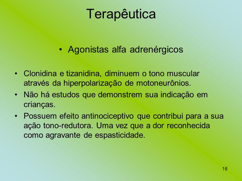 16 Terapêutica Agonistas alfa adrenérgicos Clonidina e tizanidina, diminuem o tono muscular através da hiperpolarização de motoneurônios. Não há estud