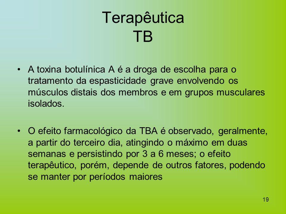 19 Terapêutica TB A toxina botulínica A é a droga de escolha para o tratamento da espasticidade grave envolvendo os músculos distais dos membros e em