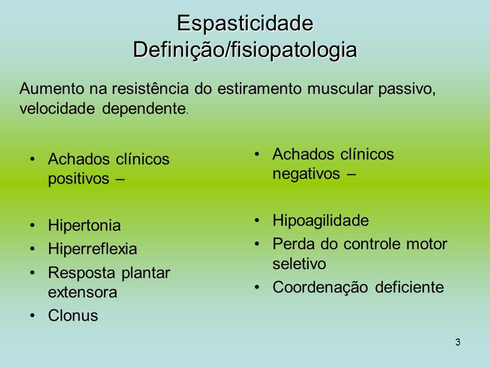3 Espasticidade Definição/fisiopatologia Achados clínicos positivos – Hipertonia Hiperreflexia Resposta plantar extensora Clonus Achados clínicos nega