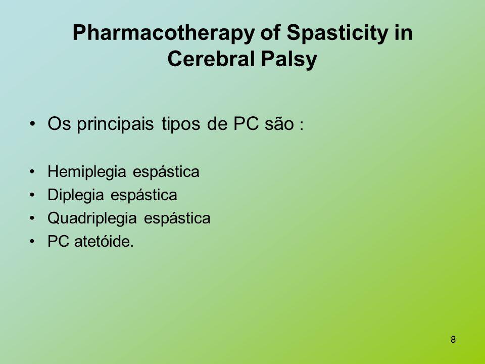 8 Pharmacotherapy of Spasticity in Cerebral Palsy Os principais tipos de PC são : Hemiplegia espástica Diplegia espástica Quadriplegia espástica PC at