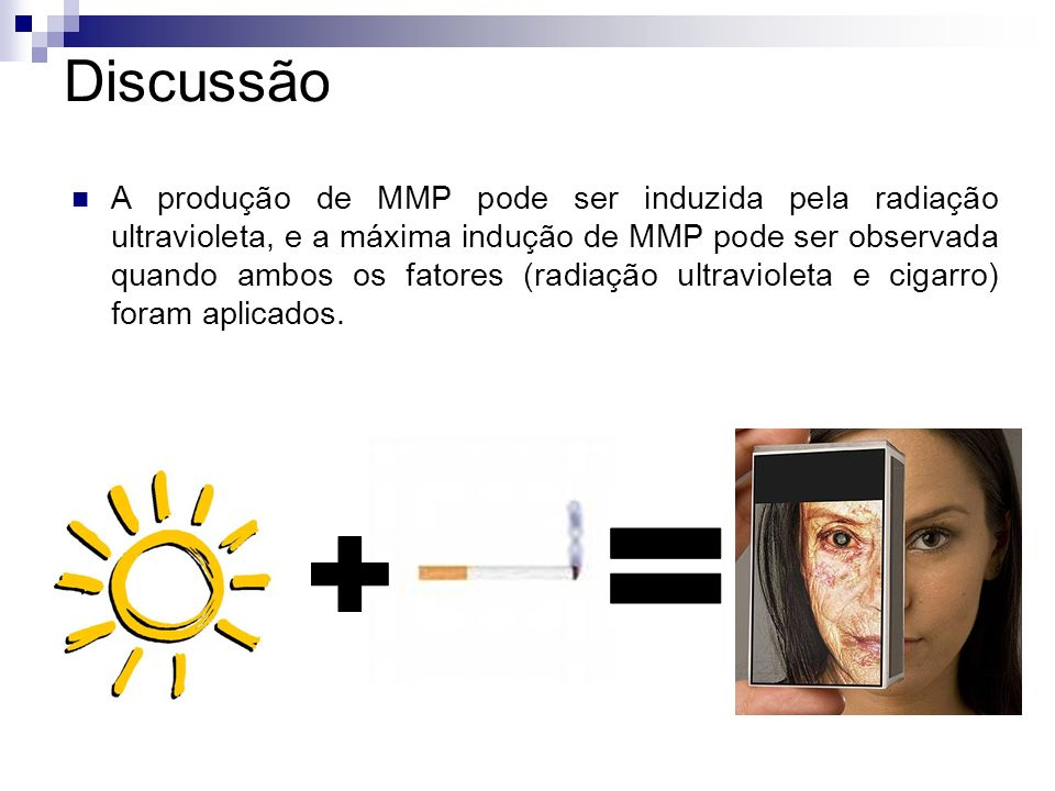 Discussão A produção de MMP pode ser induzida pela radiação ultravioleta, e a máxima indução de MMP pode ser observada quando ambos os fatores (radiaç