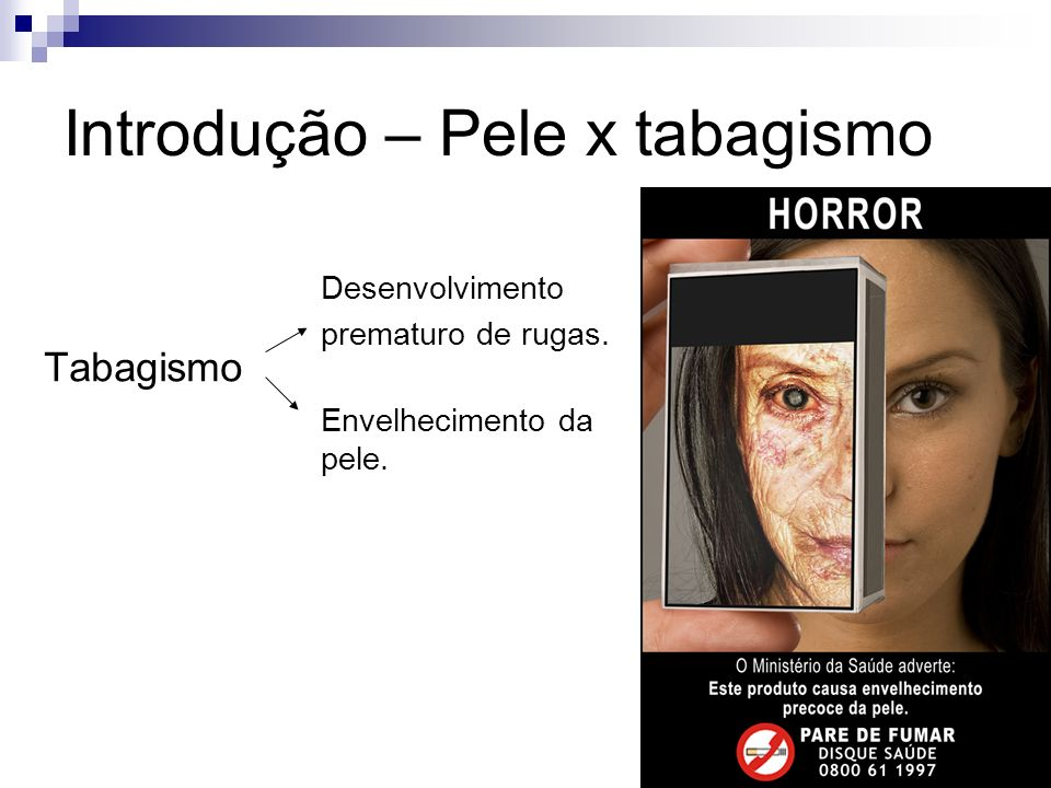 Introdução Como o fumo afeta a pele causando envelhecimento e desenvolvimento de rugas????.