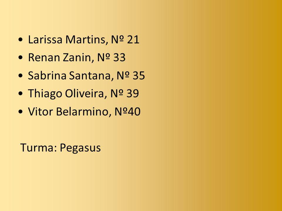 Larissa Martins, Nº 21 Renan Zanin, Nº 33 Sabrina Santana, Nº 35 Thiago Oliveira, Nº 39 Vitor Belarmino, Nº40 Turma: Pegasus