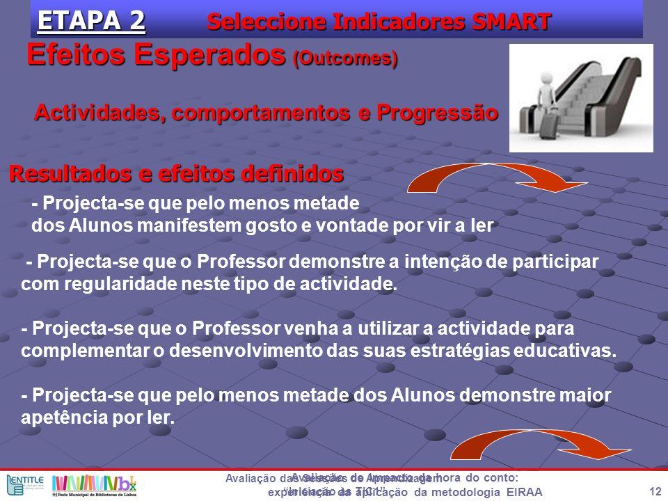 Avaliação do impacto da hora do conto: experiência da aplicação da metodologia EIRAA 12 Avaliação das Sessões de Aprendizagem Iniciação às TIC1 ETAPA