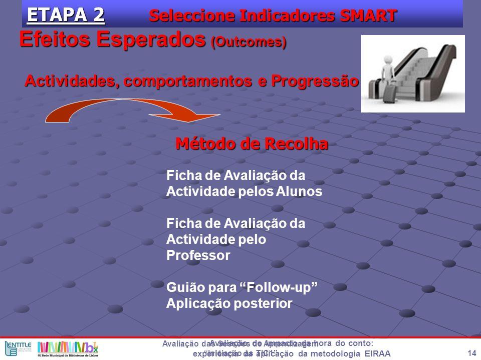 Avaliação do impacto da hora do conto: experiência da aplicação da metodologia EIRAA 14 Avaliação das Sessões de Aprendizagem Iniciação às TIC1 ETAPA