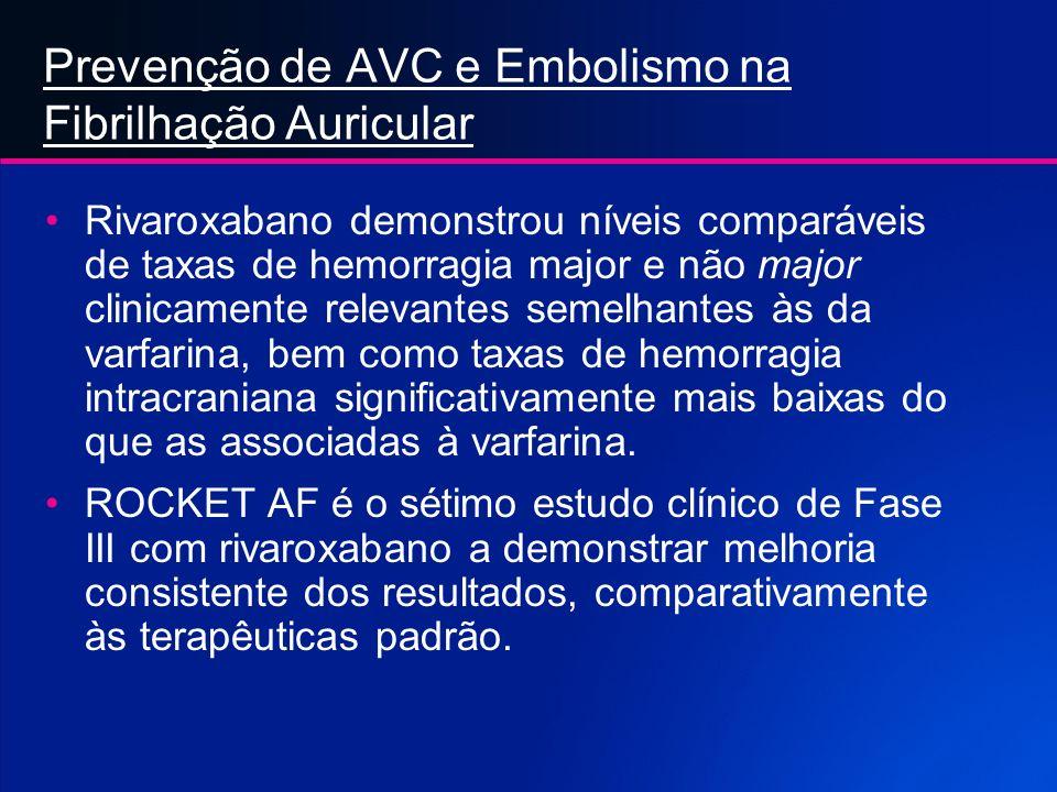 Prevenção de AVC e Embolismo na Fibrilhação Auricular Rivaroxabano Reduz Significativamente o Risco de AVC em Doentes com Fibrilhação Auricular, com S