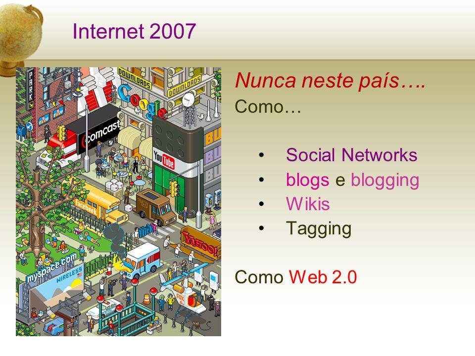 Nunca neste país…. Como… Social Networks blogs e blogging Wikis Tagging Como Web 2.0 Internet 2007