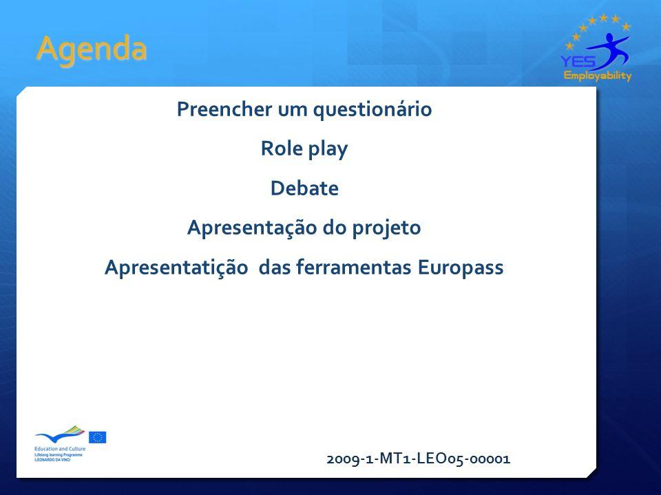 2009-1-MT1-LEO05-00001 Agenda Preencher um questionário Role play Debate Apresentação do projeto Apresentatição das ferramentas Europass