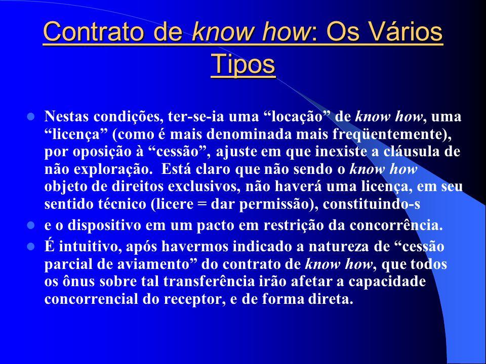 Contrato de know how: Os Vários Tipos Nestas condições, ter-se-ia uma locação de know how, uma licença (como é mais denominada mais freqüentemente), p