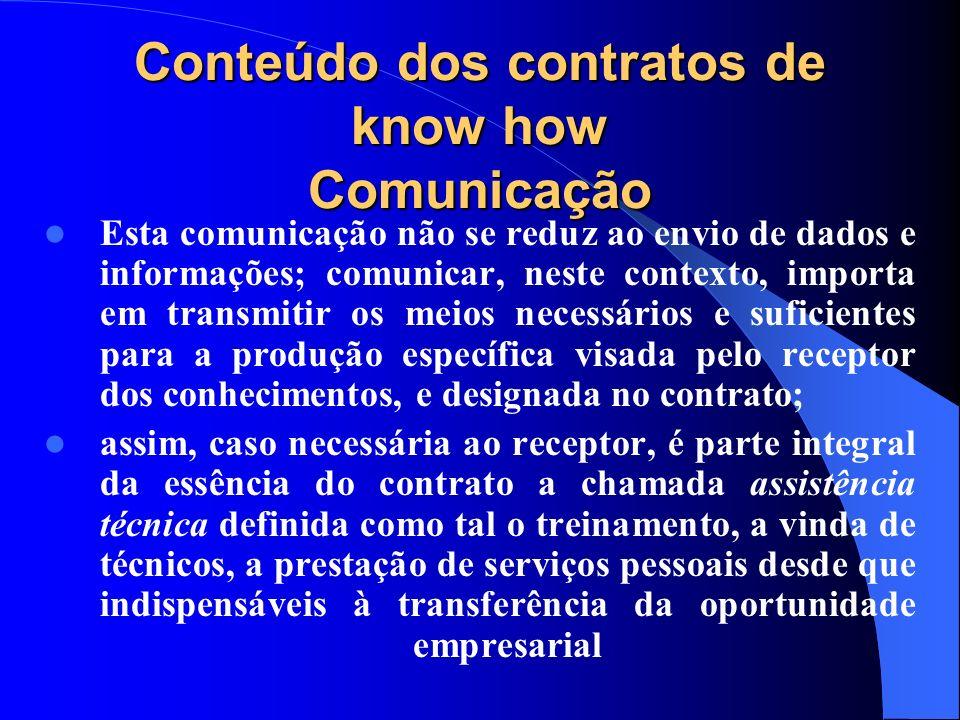 Conteúdo dos contratos de know how Comunicação Esta comunicação não se reduz ao envio de dados e informações; comunicar, neste contexto, importa em tr