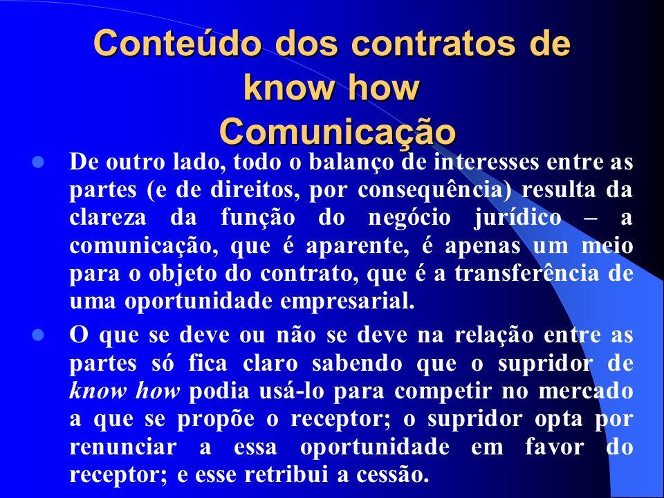 Conteúdo dos contratos de know how Comunicação De outro lado, todo o balanço de interesses entre as partes (e de direitos, por consequência) resulta d