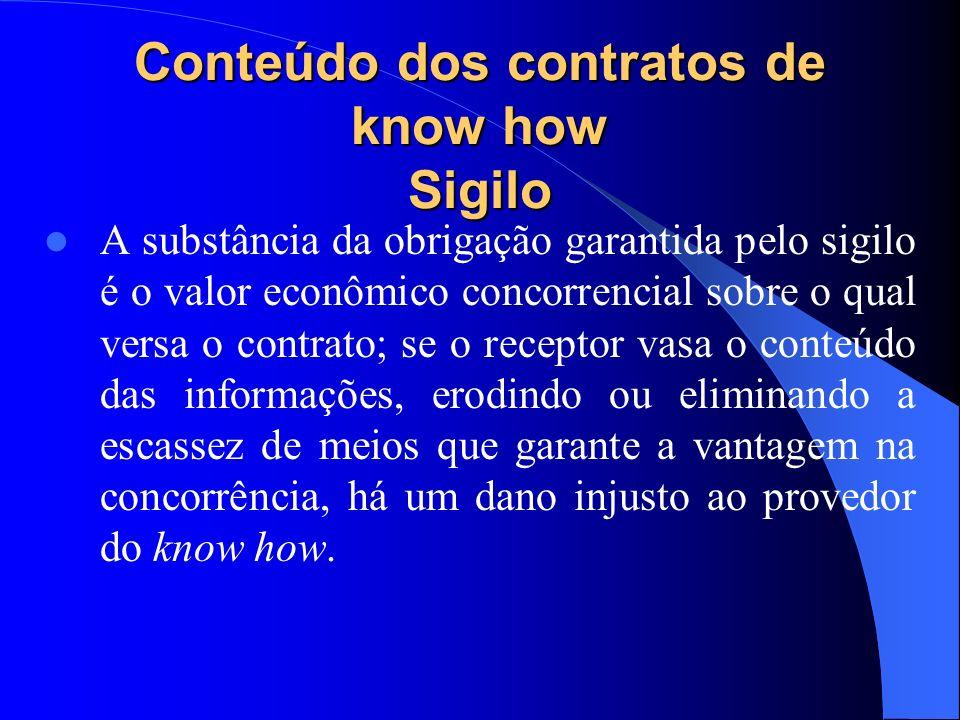 Conteúdo dos contratos de know how Sigilo A substância da obrigação garantida pelo sigilo é o valor econômico concorrencial sobre o qual versa o contr