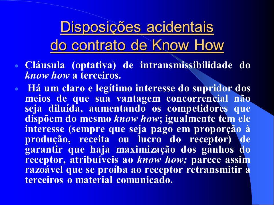 Disposições acidentais do contrato de Know How Cláusula (optativa) de intransmissibilidade do know how a terceiros. Há um claro e legítimo interesse d
