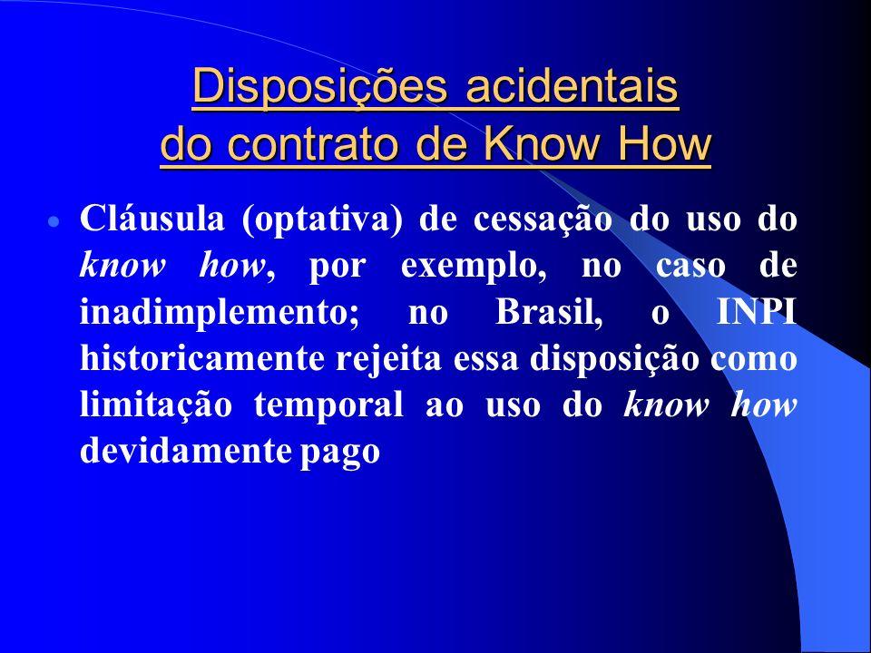 Disposições acidentais do contrato de Know How Cláusula (optativa) de cessação do uso do know how, por exemplo, no caso de inadimplemento; no Brasil,