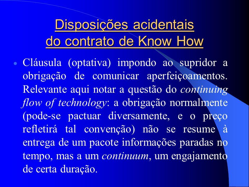 Disposições acidentais do contrato de Know How Cláusula (optativa) impondo ao supridor a obrigação de comunicar aperfeiçoamentos. Relevante aqui notar