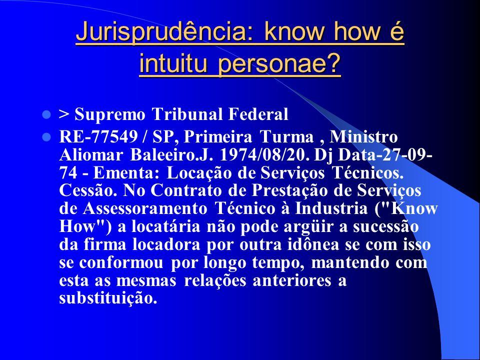 Jurisprudência: know how é intuitu personae? > Supremo Tribunal Federal RE-77549 / SP, Primeira Turma, Ministro Aliomar Baleeiro.J. 1974/08/20. Dj Dat