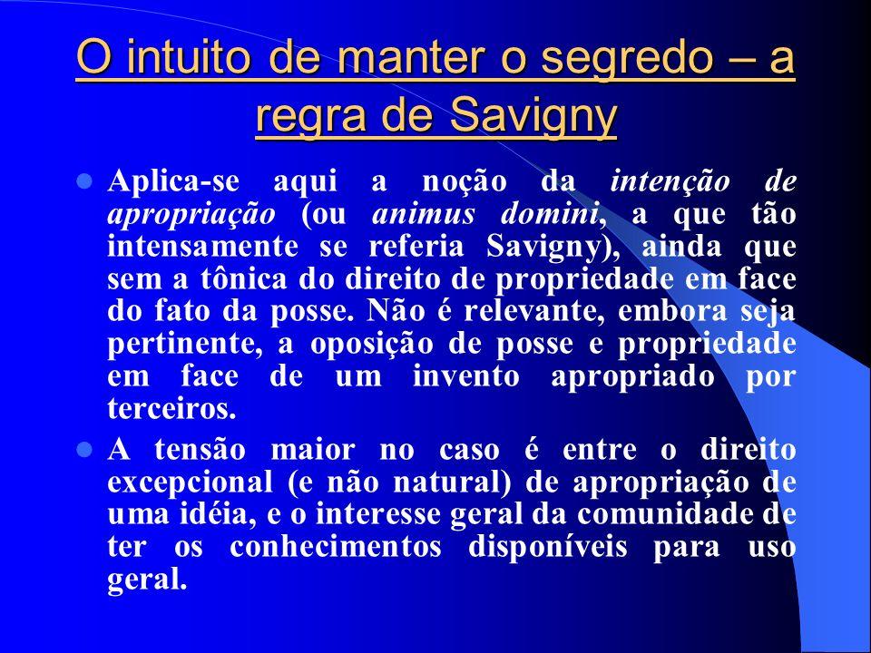 O intuito de manter o segredo – a regra de Savigny Aplica-se aqui a noção da intenção de apropriação (ou animus domini, a que tão intensamente se refe