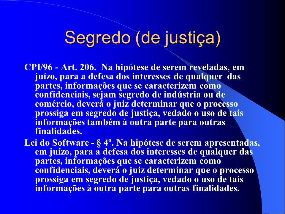 Segredo (de justiça) CPI/96 - Art. 206. Na hipótese de serem reveladas, em juízo, para a defesa dos interesses de qualquer das partes, informações que