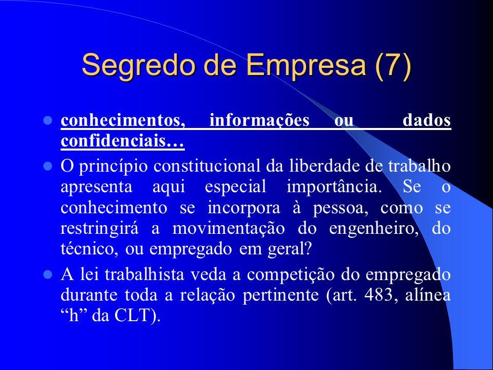 Segredo de Empresa (7) conhecimentos, informações ou dados confidenciais… O princípio constitucional da liberdade de trabalho apresenta aqui especial