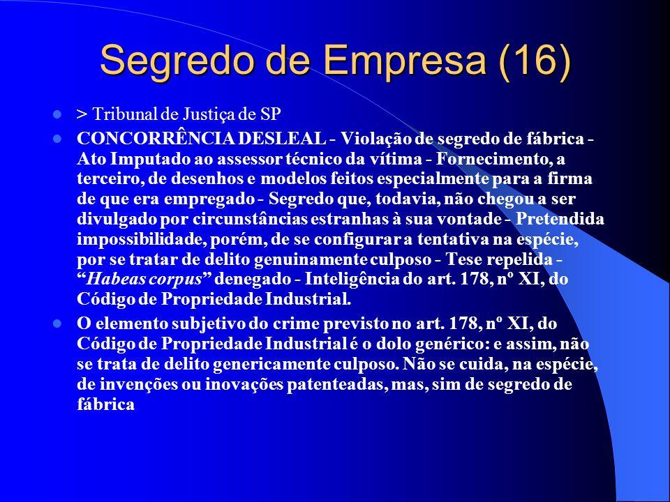 Segredo de Empresa (16) > Tribunal de Justiça de SP CONCORRÊNCIA DESLEAL - Violação de segredo de fábrica - Ato Imputado ao assessor técnico da vítima