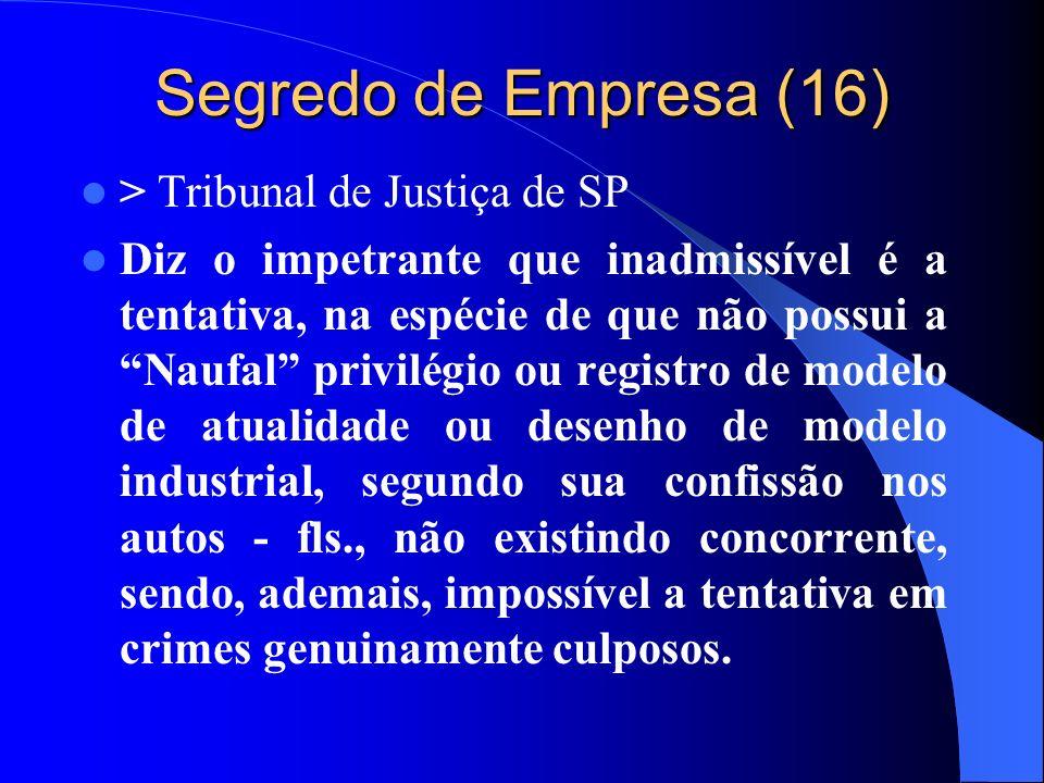 Segredo de Empresa (16) > Tribunal de Justiça de SP Diz o impetrante que inadmissível é a tentativa, na espécie de que não possui a Naufal privilégio