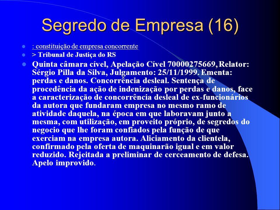 Segredo de Empresa (16) : constituição de empresa concorrente > Tribunal de Justiça do RS Quinta câmara cível, Apelação Cível 70000275669, Relator: Sé