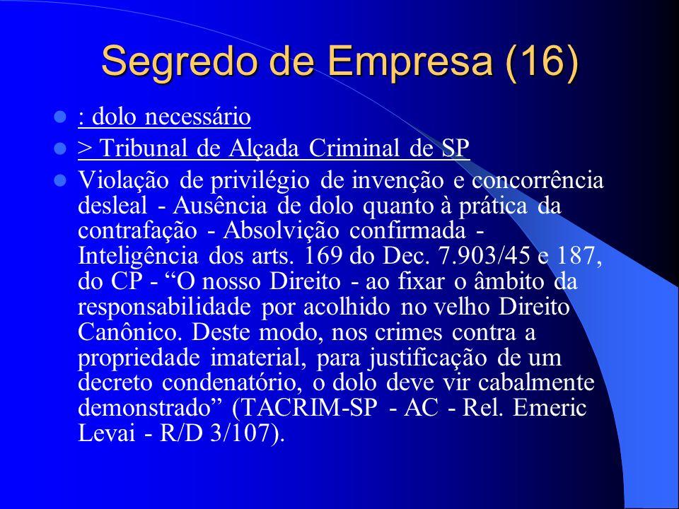 Segredo de Empresa (16) : dolo necessário > Tribunal de Alçada Criminal de SP Violação de privilégio de invenção e concorrência desleal - Ausência de