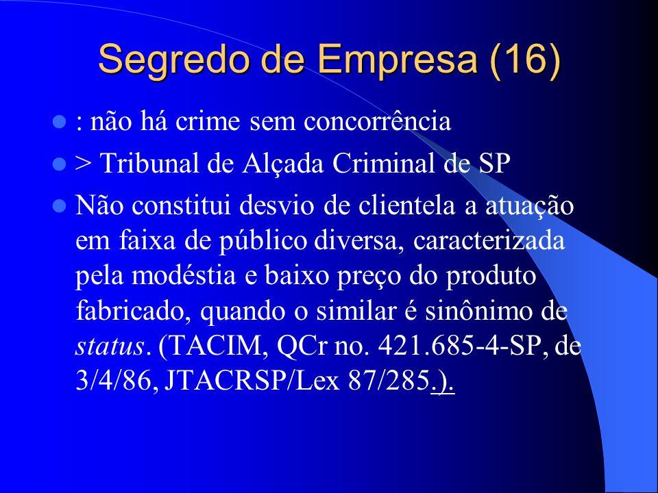 Segredo de Empresa (16) : não há crime sem concorrência > Tribunal de Alçada Criminal de SP Não constitui desvio de clientela a atuação em faixa de pú