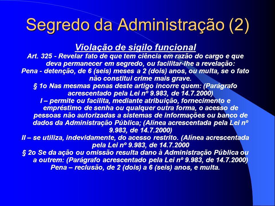 Segredo da Administração (2) Violação de sigilo funcional Art. 325 - Revelar fato de que tem ciência em razão do cargo e que deva permanecer em segred