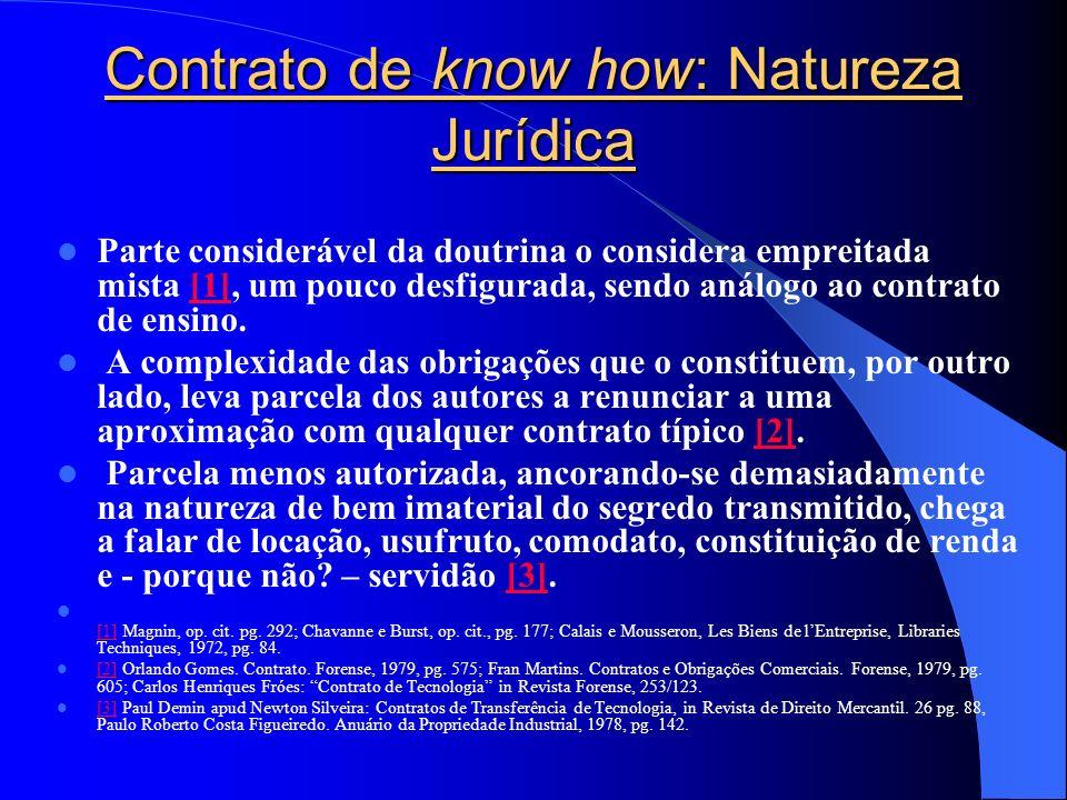 Contrato de know how: Natureza Jurídica Parte considerável da doutrina o considera empreitada mista [1], um pouco desfigurada, sendo análogo ao contra