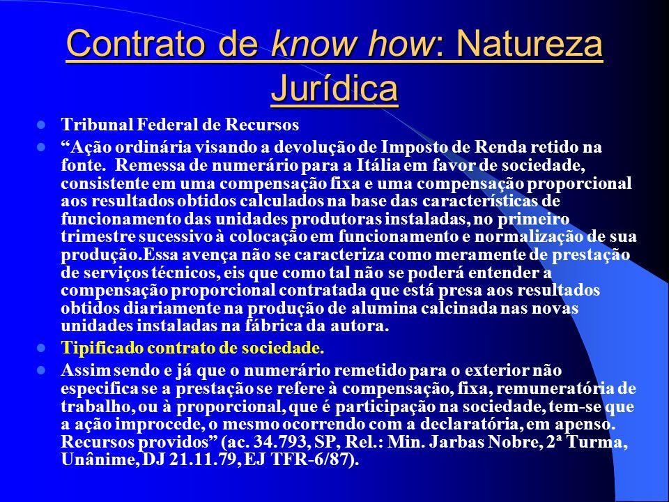 Contrato de know how: Natureza Jurídica Tribunal Federal de Recursos Ação ordinária visando a devolução de Imposto de Renda retido na fonte. Remessa d