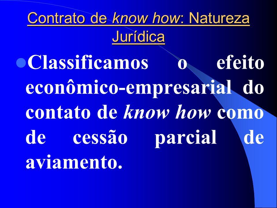 Contrato de know how: Natureza Jurídica Classificamos o efeito econômico-empresarial do contato de know how como de cessão parcial de aviamento.
