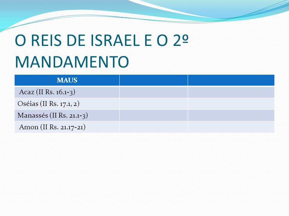 O REIS DE ISRAEL E O 2º MANDAMENTO MAUS Acaz (II Rs. 16.1-3) Oséias (II Rs. 17.1, 2) Manassés (II Rs. 21.1-3) Amon (II Rs. 21.17-21)