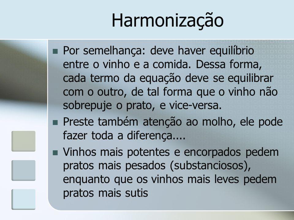 Harmonização Por semelhança: deve haver equilíbrio entre o vinho e a comida. Dessa forma, cada termo da equação deve se equilibrar com o outro, de tal