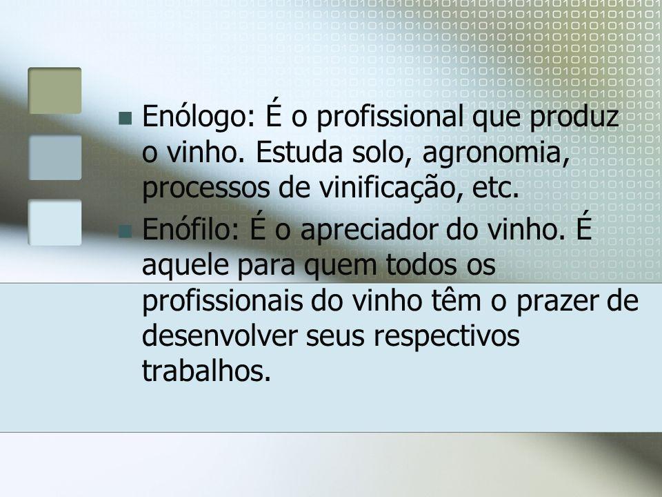 Enólogo: É o profissional que produz o vinho. Estuda solo, agronomia, processos de vinificação, etc. Enófilo: É o apreciador do vinho. É aquele para q