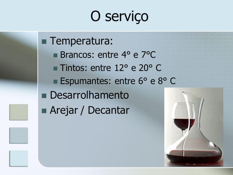 O serviço Temperatura: Brancos: entre 4° e 7°C Tintos: entre 12° e 20° C Espumantes: entre 6° e 8° C Desarrolhamento Arejar / Decantar