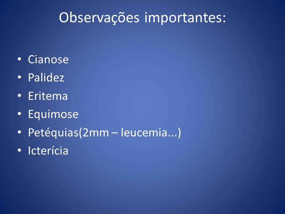 Observações importantes: Cianose Palidez Eritema Equimose Petéquias(2mm – leucemia...) Icterícia