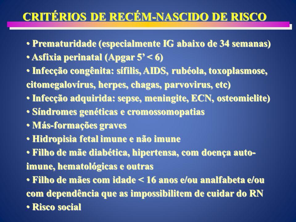 CRITÉRIOS DE RECÉM-NASCIDO DE RISCO Prematuridade (especialmente IG abaixo de 34 semanas) Prematuridade (especialmente IG abaixo de 34 semanas) Asfixia perinatal (Apgar 5 < 6) Asfixia perinatal (Apgar 5 < 6) Infecção congênita: sífilis, AIDS, rubéola, toxoplasmose, citomegalovírus, herpes, chagas, parvovirus, etc) Infecção congênita: sífilis, AIDS, rubéola, toxoplasmose, citomegalovírus, herpes, chagas, parvovirus, etc) Infecção adquirida: sepse, meningite, ECN, osteomielite) Infecção adquirida: sepse, meningite, ECN, osteomielite) Síndromes genéticas e cromossomopatias Síndromes genéticas e cromossomopatias Más-formações graves Más-formações graves Hidropisia fetal imune e não imune Hidropisia fetal imune e não imune Filho de mãe diabética, hipertensa, com doença auto- imune, hematológicas e outras Filho de mãe diabética, hipertensa, com doença auto- imune, hematológicas e outras Filho de mães com idade < 16 anos e/ou analfabeta e/ou com dependência que as impossibilitem de cuidar do RN Filho de mães com idade < 16 anos e/ou analfabeta e/ou com dependência que as impossibilitem de cuidar do RN Risco social Risco social