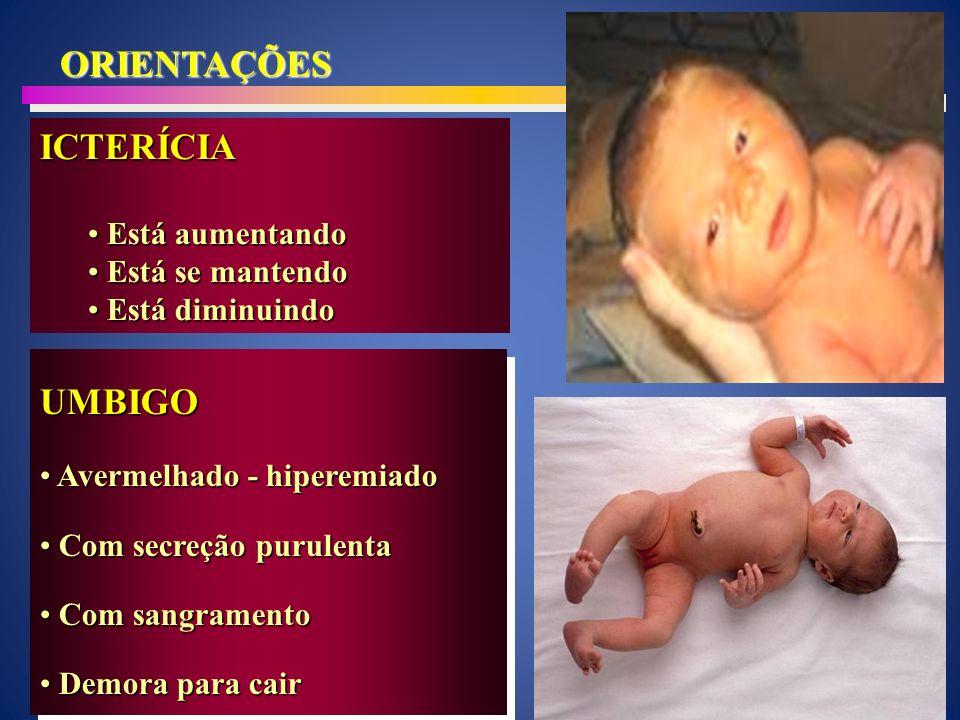PELE Avermelhado - hiperemiado Avermelhado - hiperemiado Com pápulas – bolinhas Com pápulas – bolinhas Com pústulas Com pústulasPELE Avermelhado - hiperemiado Avermelhado - hiperemiado Com pápulas – bolinhas Com pápulas – bolinhas Com pústulas Com pústulas SINAIS A SEREM OBSERVADOS DIARRÉIA DIARRÉIA AVALIAÇÃO da mãe AVALIAÇÃO da mãe Número de evacuações diferente Número de evacuações diferente Há quanto tempo Há quanto tempo Há sangue nas fezes Há sangue nas fezes Associado com vomitos Associado com vomitos